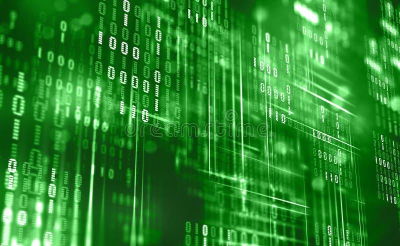 Abstracte binaire code Wolkengegevens Blockchaintechnologie Digitale cyberspace Groot gegevensconcept vector illustratie