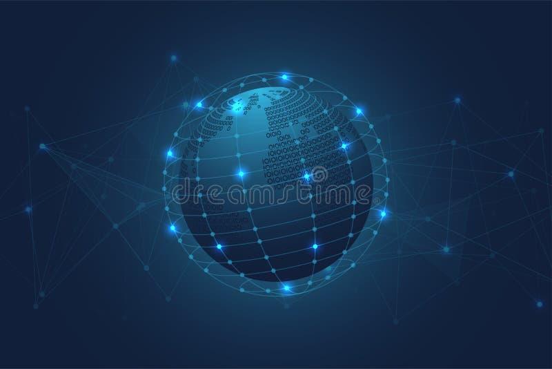 Abstracte Binaire wereldkaart met Blauwe Veelhoekige Ruimteachtergrond met het Verbinden van Punten en Lijnen vector illustratie