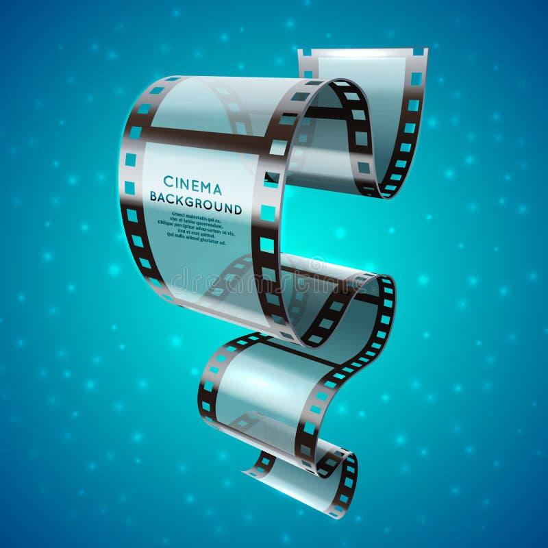 Abstracte bioskoop retro affiche met het broodje van de filmstrook, de vectorachtergrond van het filmfestival stock illustratie