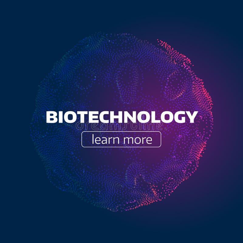 Abstracte biotechnologiecel Deeltjesnet Organische Structuur futuristische infographic achtergrond vector illustratie