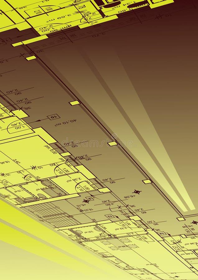abstracte blauwdrukvector als achtergrond stock illustratie