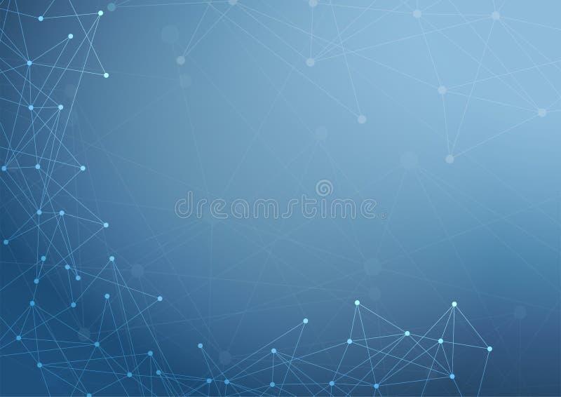 Abstracte blauwe achtergrond, de computer van het technologienetwerk en gegevensconcept stock afbeeldingen