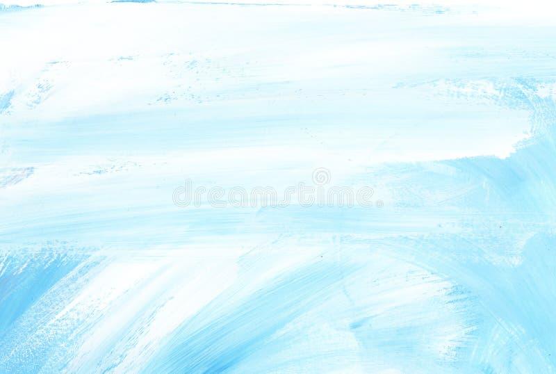 Abstracte Blauwe Achtergrond Lichte hemel met wolken Textuur van een verf op document Hand getrokken illustratie royalty-vrije illustratie