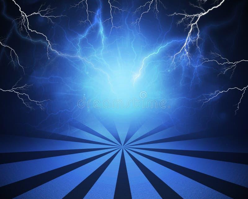 Abstracte blauwe achtergrond met bliksem en royalty-vrije illustratie