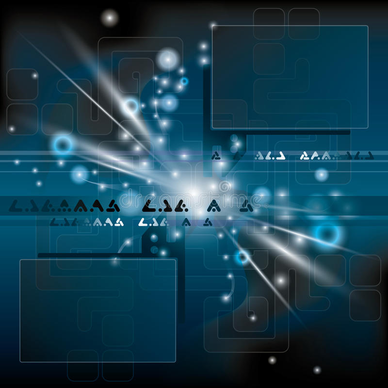 Abstracte blauwe achtergrond met flits - vector stock illustratie
