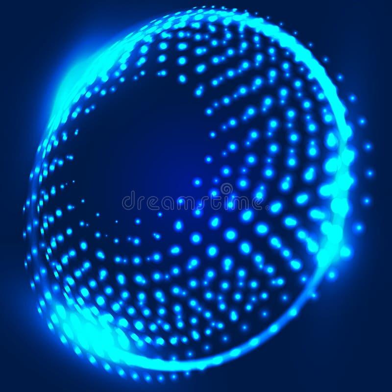 Abstracte blauwe achtergrond met gloeiende spiraal abstracte achtergrond stock illustratie