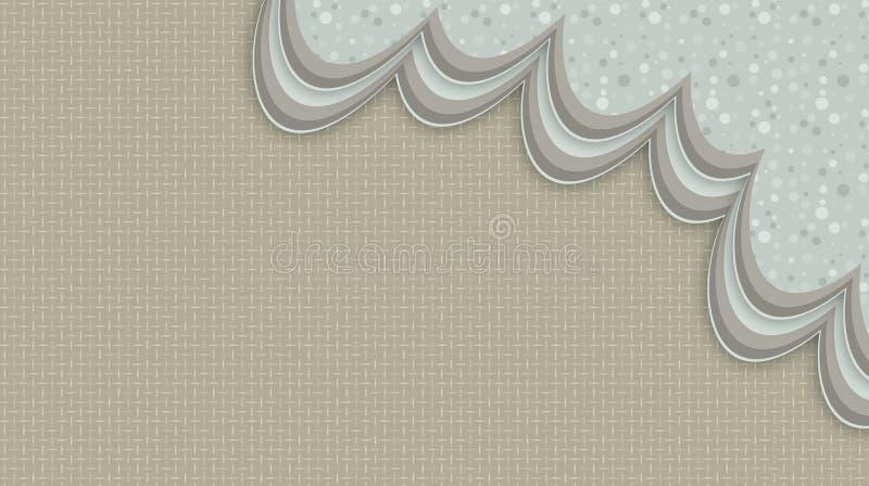 Abstracte blauwe achtergrond met grijze wervelingen vector illustratie