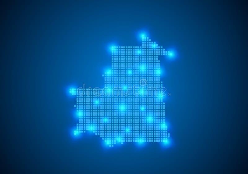 Abstracte blauwe achtergrond met kaart, Internet-lijn, verbonden punten kaart met puntknopen Het globale concept van de netwerkve vector illustratie