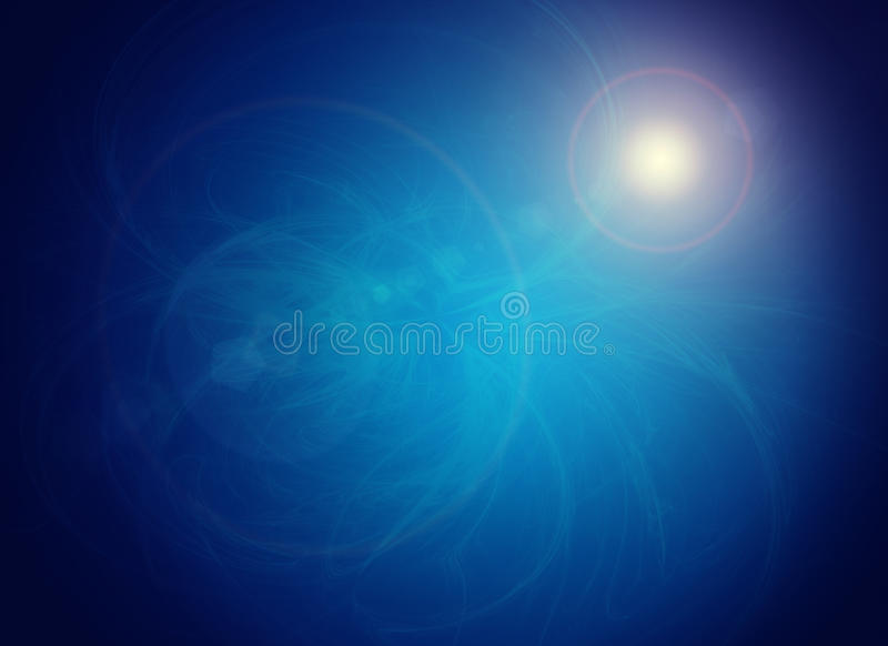 Abstracte blauwe achtergrond met kleine gloeiende vlek stock illustratie