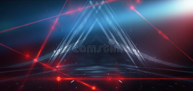 Abstracte blauwe achtergrond met neonlicht, tunnel, gang, rode laserstralen, rook stock foto