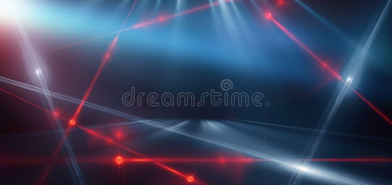 Abstracte blauwe achtergrond met neonlicht, tunnel, gang, rode laserstralen, rook vector illustratie