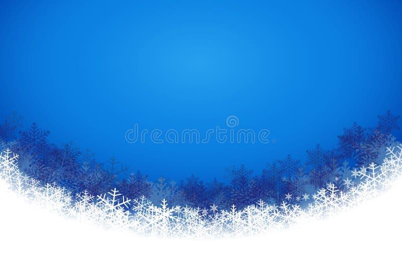 Abstracte blauwe achtergrond met sneeuwvlok Vector illustratie royalty-vrije stock afbeeldingen