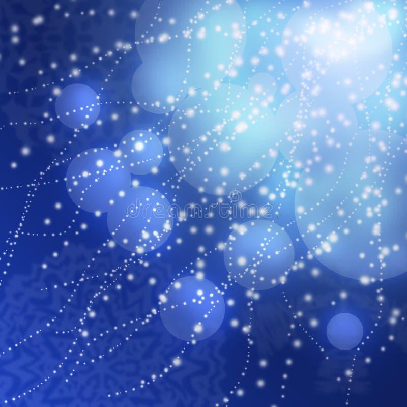 Abstracte blauwe achtergrond met sneeuwvlokken royalty-vrije stock foto's