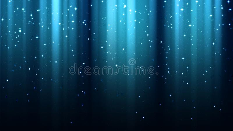 Abstracte blauwe achtergrond met stralen van licht, aurora borealis, fonkelingen, nacht sterrige hemel stock illustratie