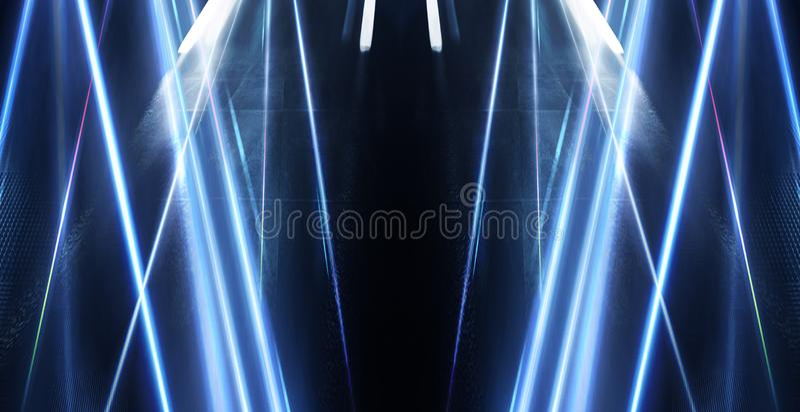 Abstracte blauwe achtergrond met stralen van neonlicht, schijnwerper, bezinning op het asfalt vector illustratie