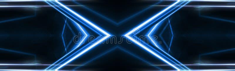 Abstracte blauwe achtergrond met stralen van neonlicht, schijnwerper, bezinning op het asfalt stock illustratie
