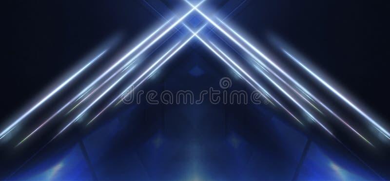 Abstracte blauwe achtergrond met stralen van neonlicht, schijnwerper, bezinning op het asfalt royalty-vrije illustratie