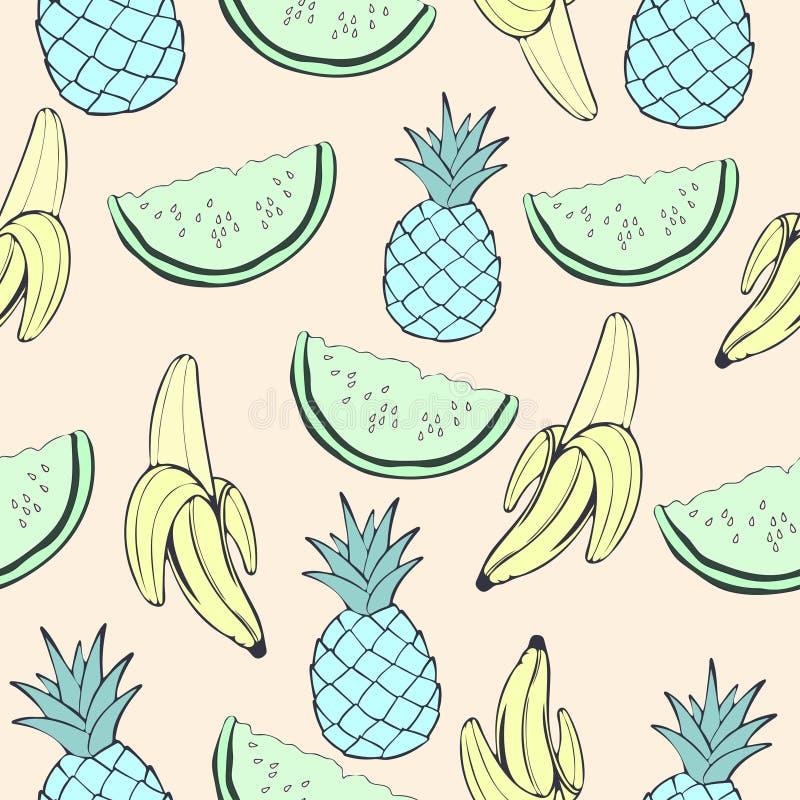 Abstracte blauwe ananas, groene watermeloen en banaan, fruit in ongebruikelijke creatieve kleuren, uitstekend naadloos patroon, b vector illustratie