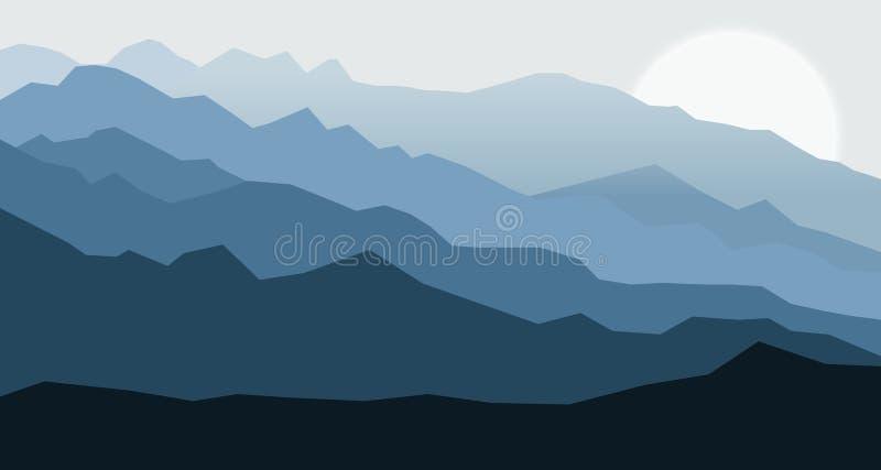 Abstracte blauwe bergen royalty-vrije illustratie