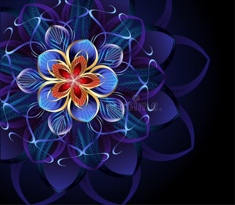 Abstracte blauwe bloem royalty-vrije illustratie