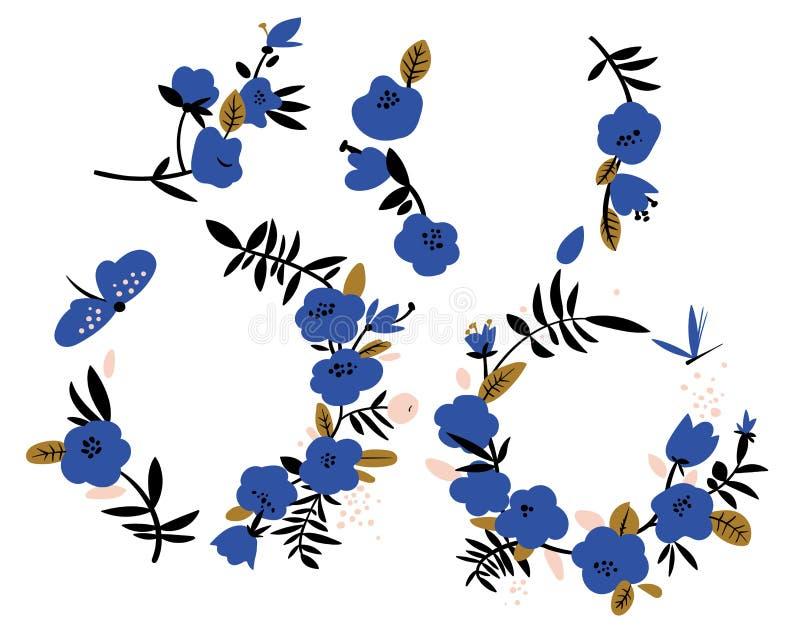 Abstracte blauwe bloemenkronen royalty-vrije illustratie