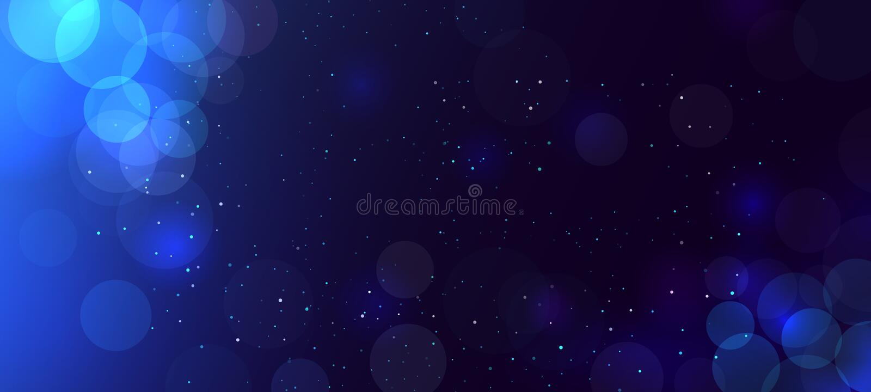 Abstracte blauwe bokehachtergrond met cirkels defocused schitter Decoratieelement voor Kerstmis en Nieuwjaarvooravondvakantie stock illustratie