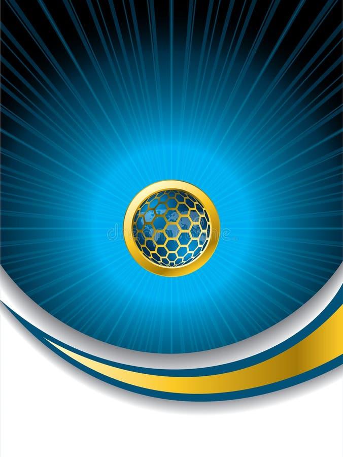 Abstracte blauwe brochure met hexagon knoop royalty-vrije illustratie