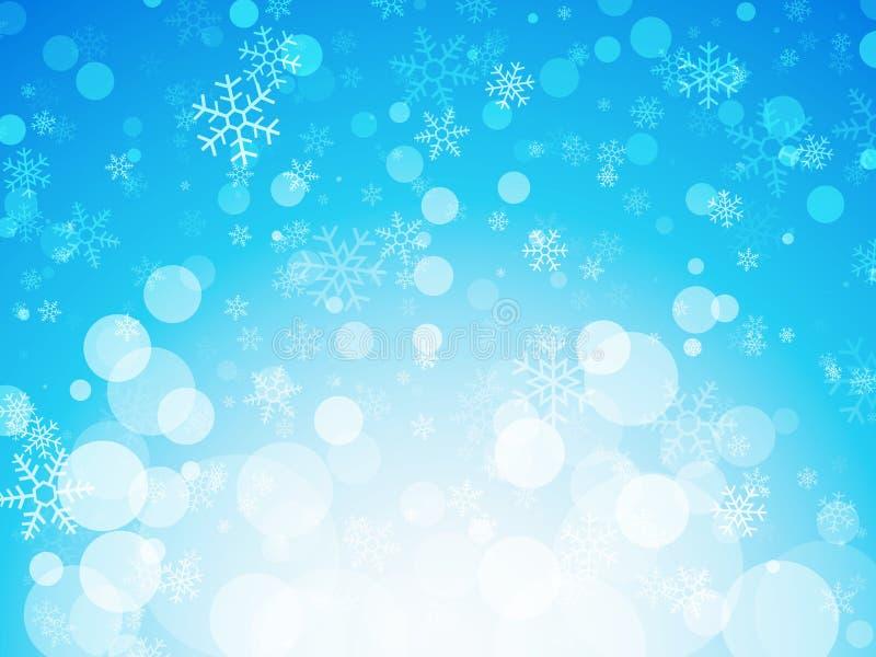 Abstracte blauwe de winterachtergrond met sneeuwvlokken vector illustratie