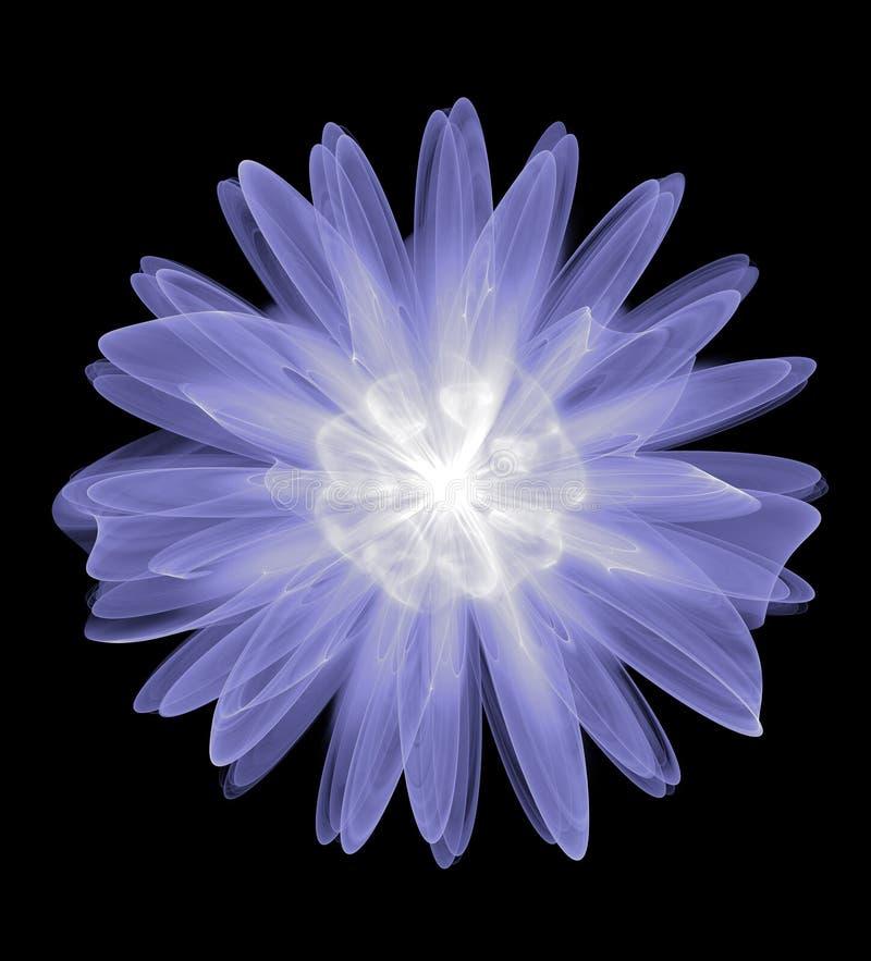 Abstracte blauwe die 3d bloemen op zwarte achtergrond worden geïsoleerd stock illustratie