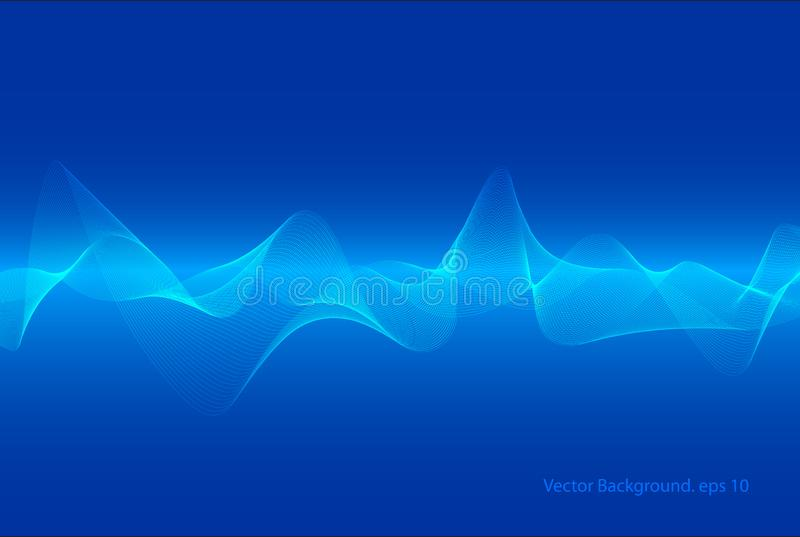 abstracte blauwe digitale equaliser, vector van het element van het correcte golfpatroon, Technologie backgorund stock illustratie