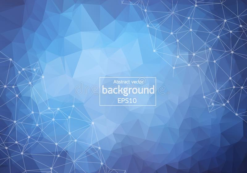 Abstracte Blauwe Donkere Geometrische Veelhoekige molecule en mededeling als achtergrond Verbonden lijnen met punten Concept de w vector illustratie
