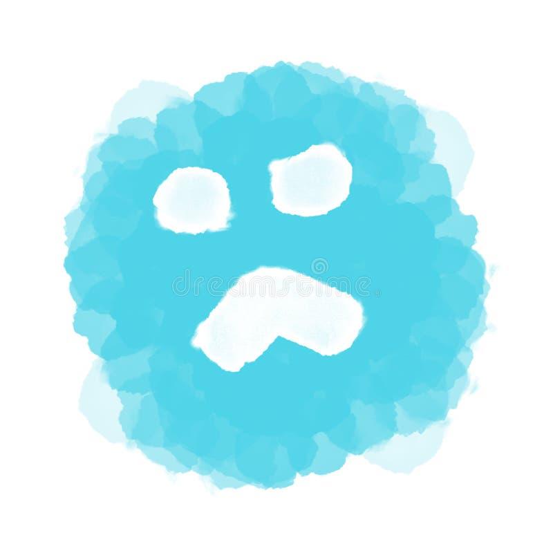 Abstracte blauwe droevige emoji/emoticon op wit stock illustratie
