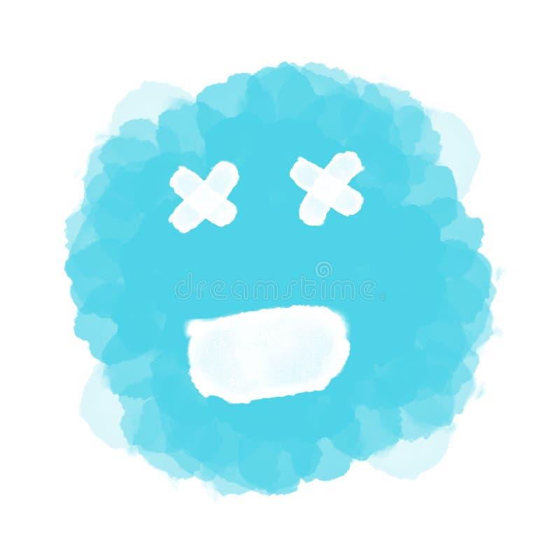 Abstracte blauwe emoji/emoticon op wit stock illustratie