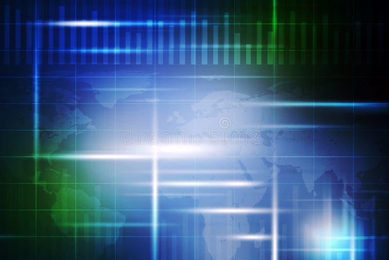 Abstracte blauwe en groene achtergrond met kaart stock illustratie