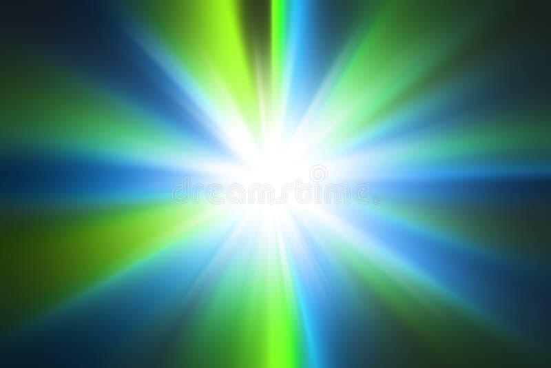Abstracte blauwe en groene radiale gezoemachtergrond vector illustratie