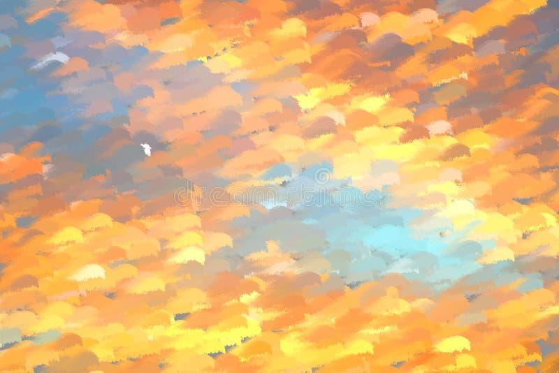 Abstracte blauwe en oranje digitale geschilderde patroonachtergrond royalty-vrije stock afbeeldingen