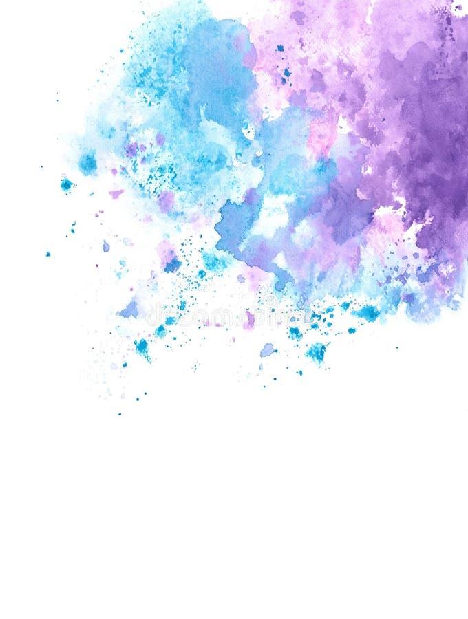 Abstracte blauwe en purpere waterverfplons op rand van Witboekachtergrond, grunge element voor decoratie, illustratie vector illustratie