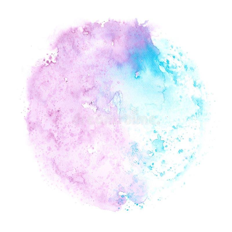 Abstracte blauwe en purpere waterverfplons op wit document als achtergrond, grunge element voor decoratie, illustratie vector illustratie