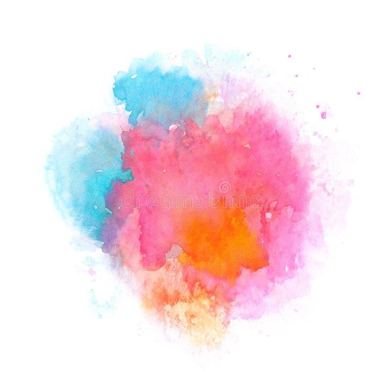 Abstracte blauwe en roze waterverfplons op wit document als achtergrond, grunge element voor decoratie, illustratie stock illustratie