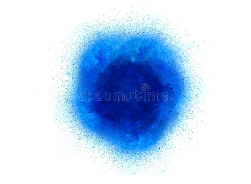 Abstracte, blauwe explosie van brand tegen witte achtergrond stock foto's