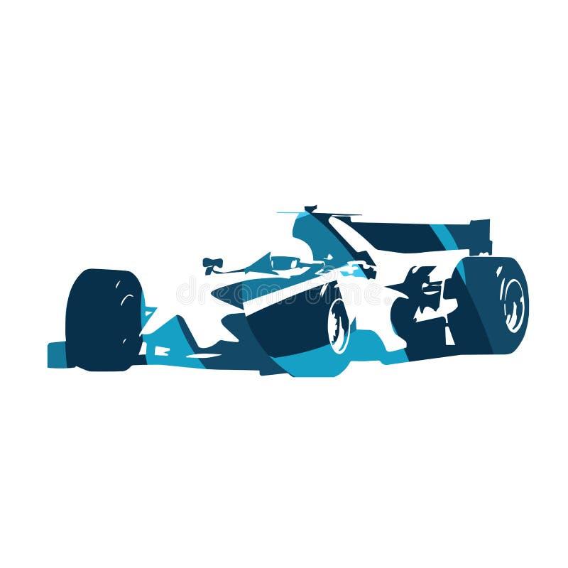 Abstracte blauwe formuleraceauto royalty-vrije illustratie