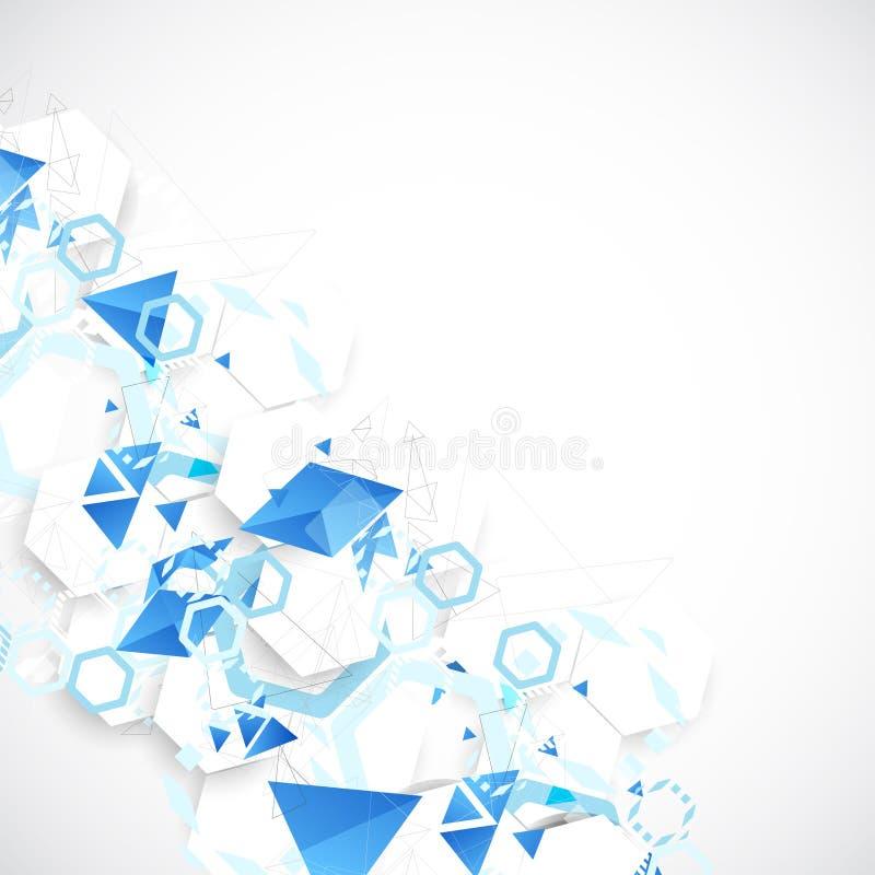 Abstracte blauwe futuristische achtergrond voor de ontwerpwerken royalty-vrije illustratie