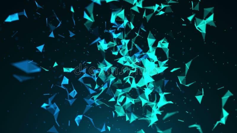Abstracte blauwe geometrische achtergrond met het bewegen van lijnen en punten royalty-vrije illustratie