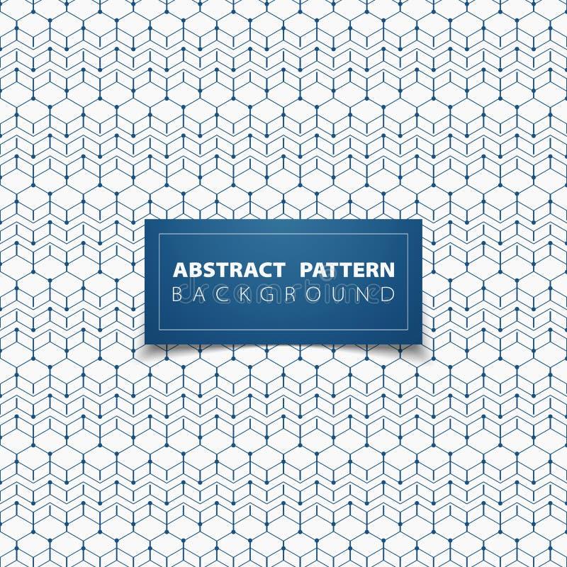Abstracte blauwe geometrische hexagon het ontwerpachtergrond van de patrooncirkel Illustratie vectoreps10 vector illustratie