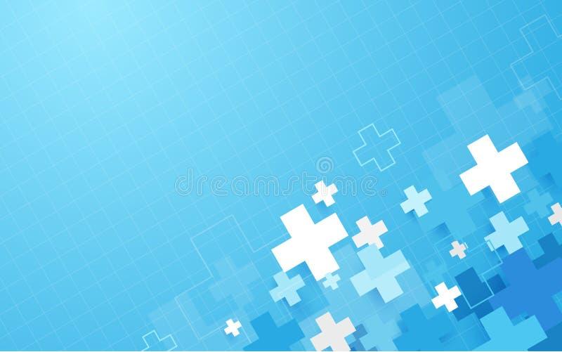Abstracte blauwe geometrische medische dwars van de vormgeneeskunde en wetenschap conceptenachtergrond stock illustratie