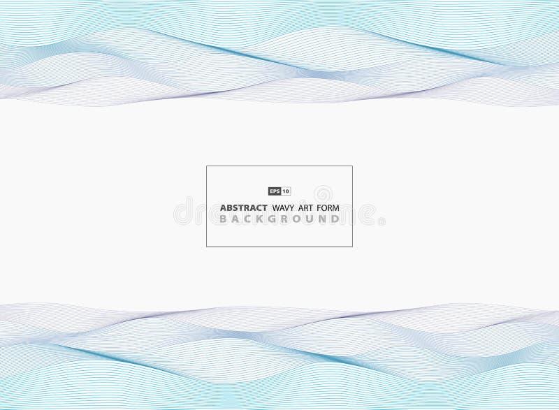 Abstracte blauwe golvende van het overzeese de lijnenachtergrond patroonontwerp Illustratie vectoreps10 royalty-vrije illustratie