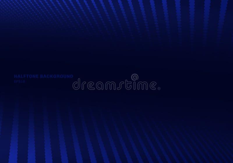 Abstracte blauwe halftone op donkere achtergrond en textuur Het patroon van puntenlijnen royalty-vrije illustratie