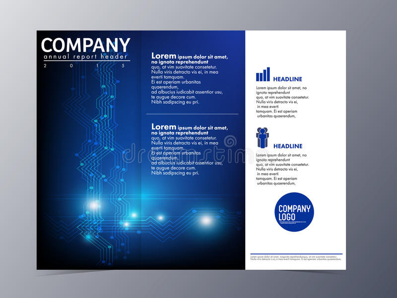 Abstracte blauwe het malplaatjevector van het brochureontwerp trifold royalty-vrije illustratie