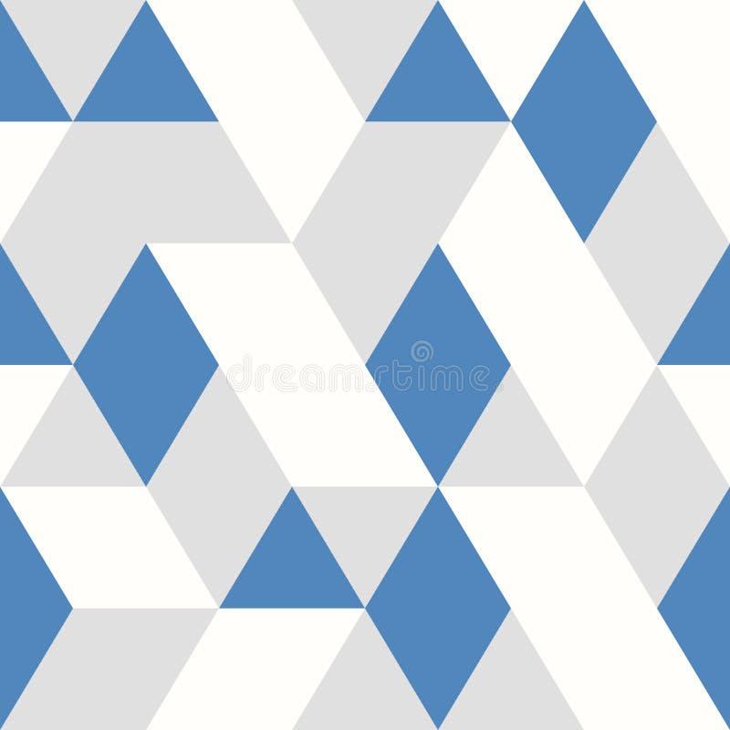 Abstracte blauwe het ontwerp naadloze stijl van het driehoeken vectorpatroon op witte grijze achtergrond Illustratie vectoreps10 stock illustratie