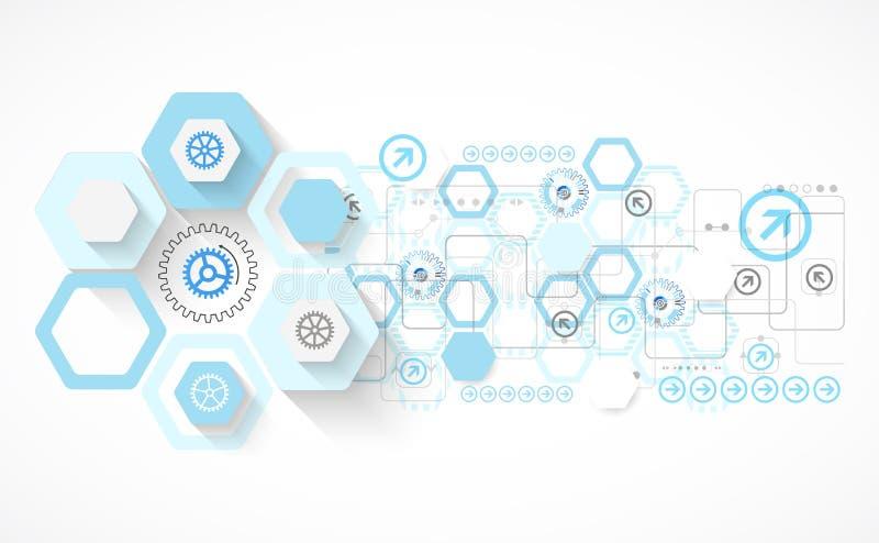 Abstracte blauwe hexagon futuristische achtergrond voor de ontwerpwerken stock illustratie